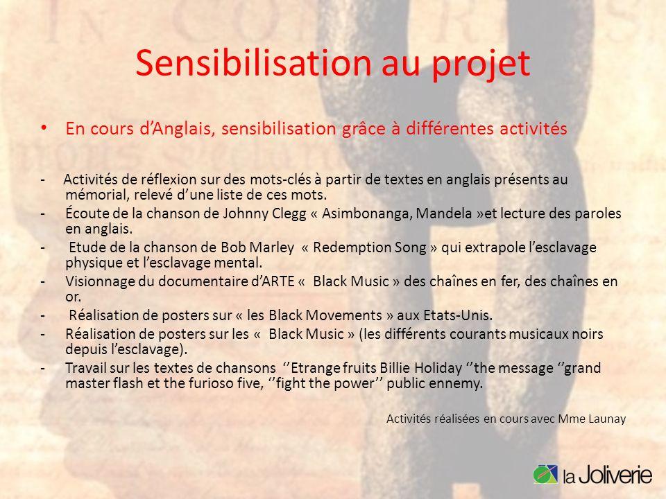 Sensibilisation au projet En cours dAnglais, sensibilisation grâce à différentes activités - Activités de réflexion sur des mots-clés à partir de text