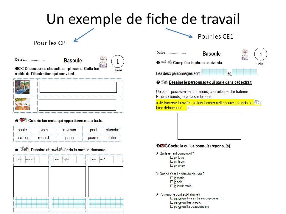 Un exemple de fiche de travail Pour les CP Pour les CE1