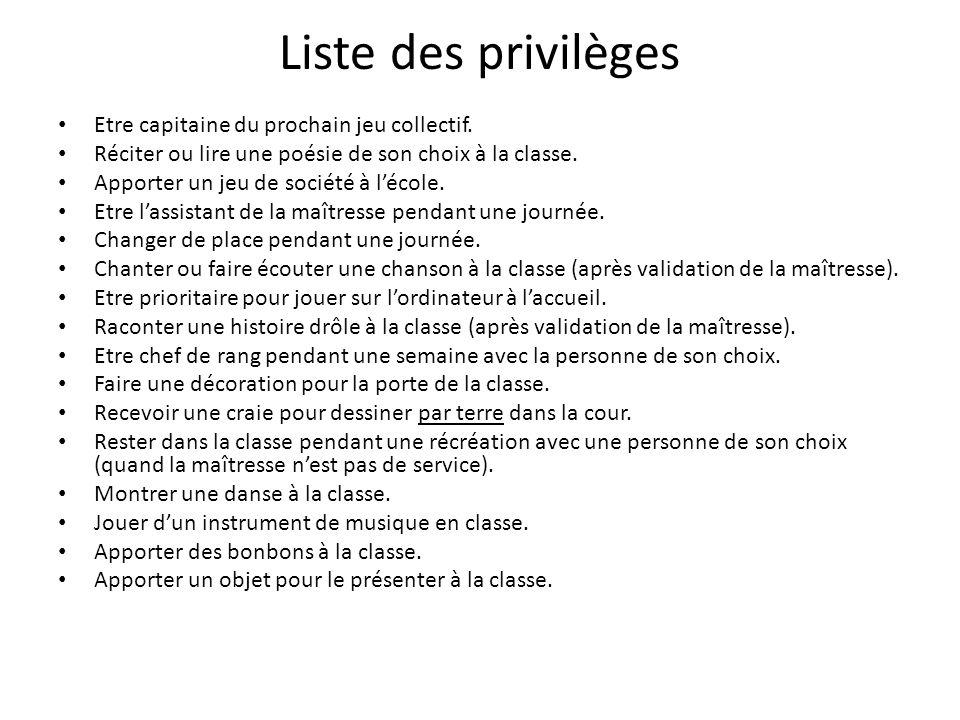Liste des privilèges Etre capitaine du prochain jeu collectif.