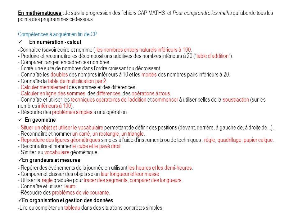 En mathématiques : Je suis la progression des fichiers CAP MATHS et Pour comprendre les maths qui aborde tous les points des programmes ci-dessous. Co
