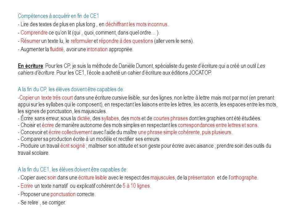 Compétences à acquérir en fin de CE1 - Lire des textes de plus en plus long, en déchiffrant les mots inconnus. - Comprendre ce quon lit (qui, quoi, co
