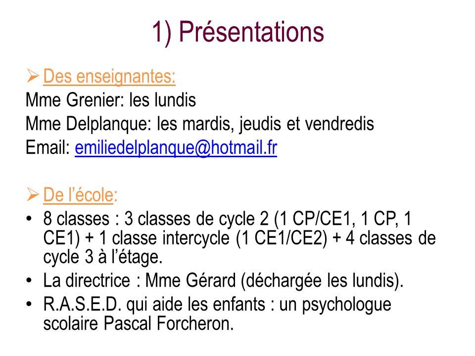 1) Présentations Des enseignantes: Mme Grenier: les lundis Mme Delplanque: les mardis, jeudis et vendredis Email: emiliedelplanque@hotmail.fremiliedel
