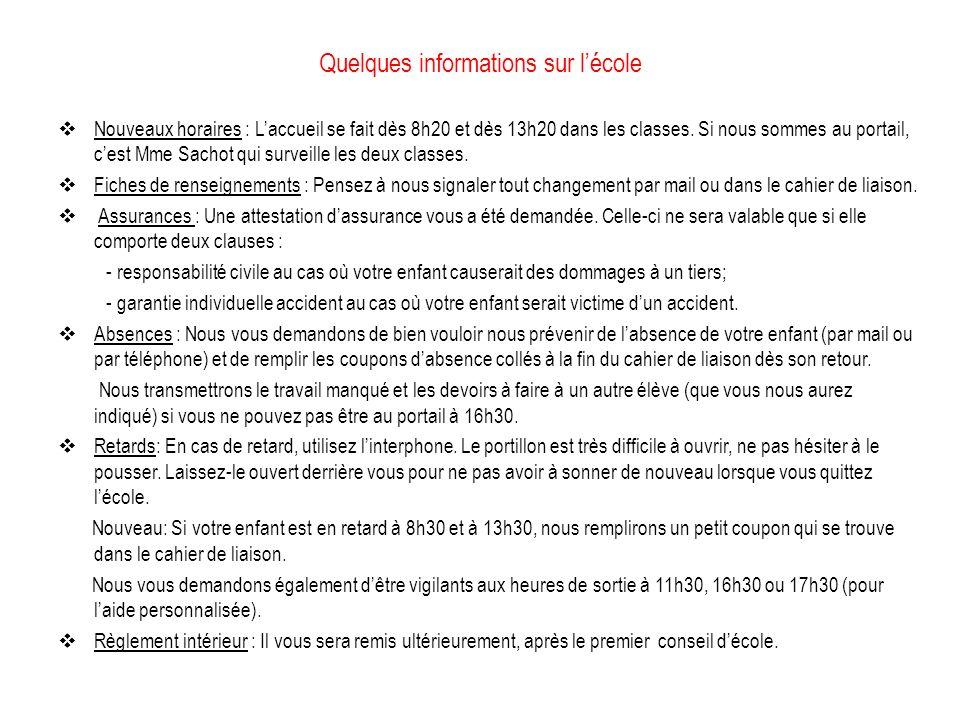 Quelques informations sur lécole Nouveaux horaires : Laccueil se fait dès 8h20 et dès 13h20 dans les classes.