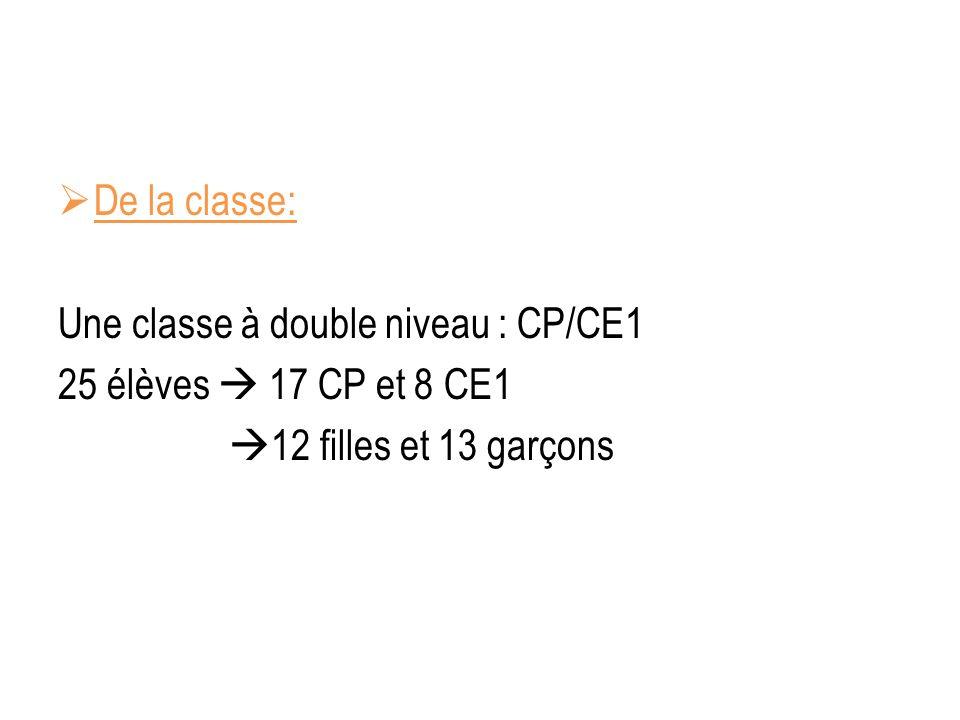 De la classe: Une classe à double niveau : CP/CE1 25 élèves 17 CP et 8 CE1 12 filles et 13 garçons