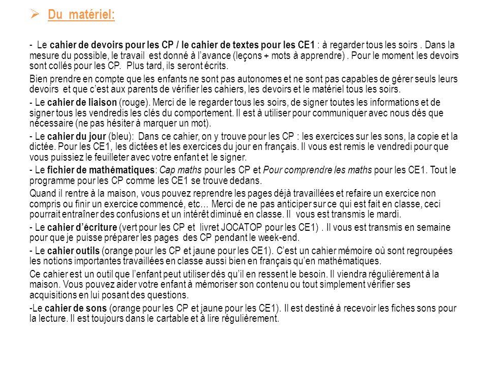 Du matériel: - Le cahier de devoirs pour les CP / le cahier de textes pour les CE1 : à regarder tous les soirs.