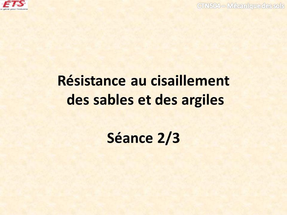 Résistance au cisaillement des sables et des argiles Séance 2/3