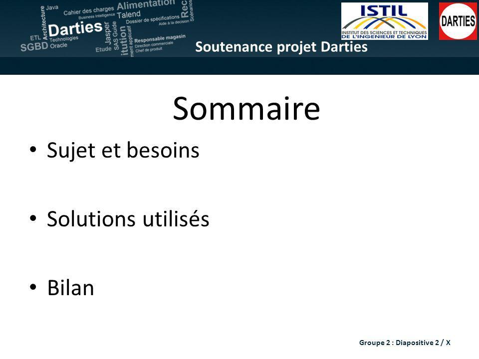 Soutenance projet Darties Sommaire Sujet et besoins Solutions utilisés Bilan Groupe 2 : Diapositive 2 / X