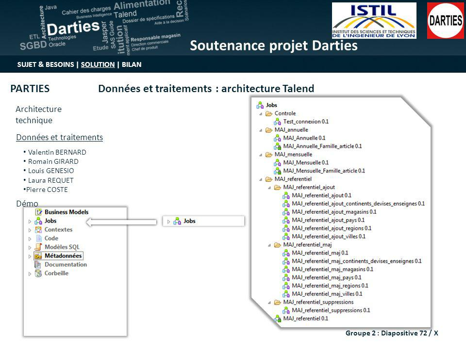 Soutenance projet Darties SUJET & BESOINS | SOLUTION | BILAN Architecture technique Valentin BERNARD Romain GIRARD Louis GENESIO Laura REQUET Pierre C