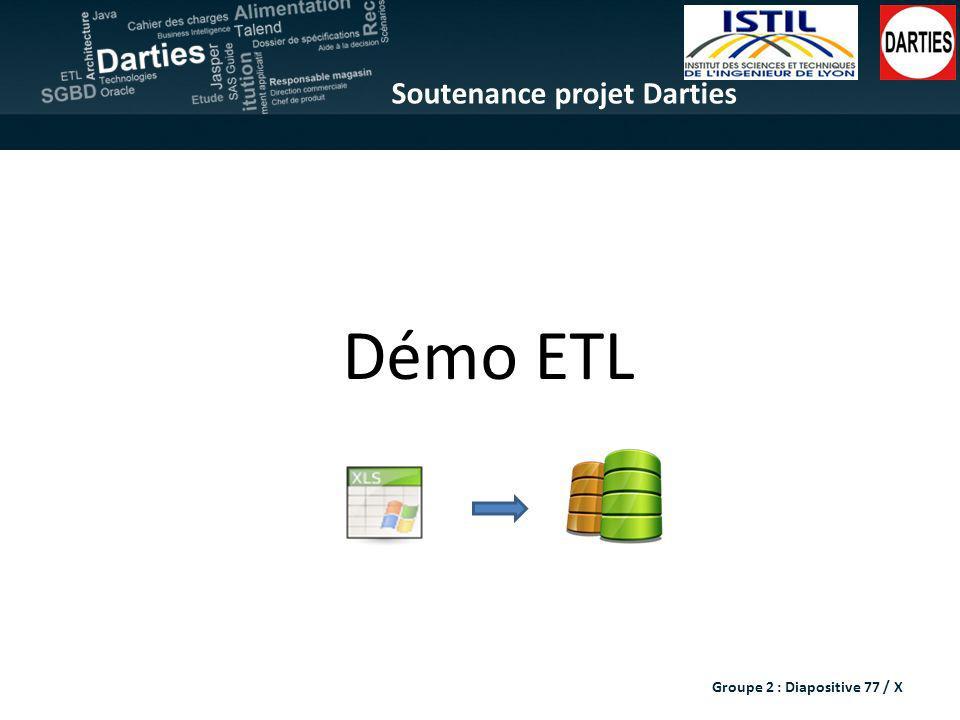 Soutenance projet Darties Démo ETL Groupe 2 : Diapositive 77 / X