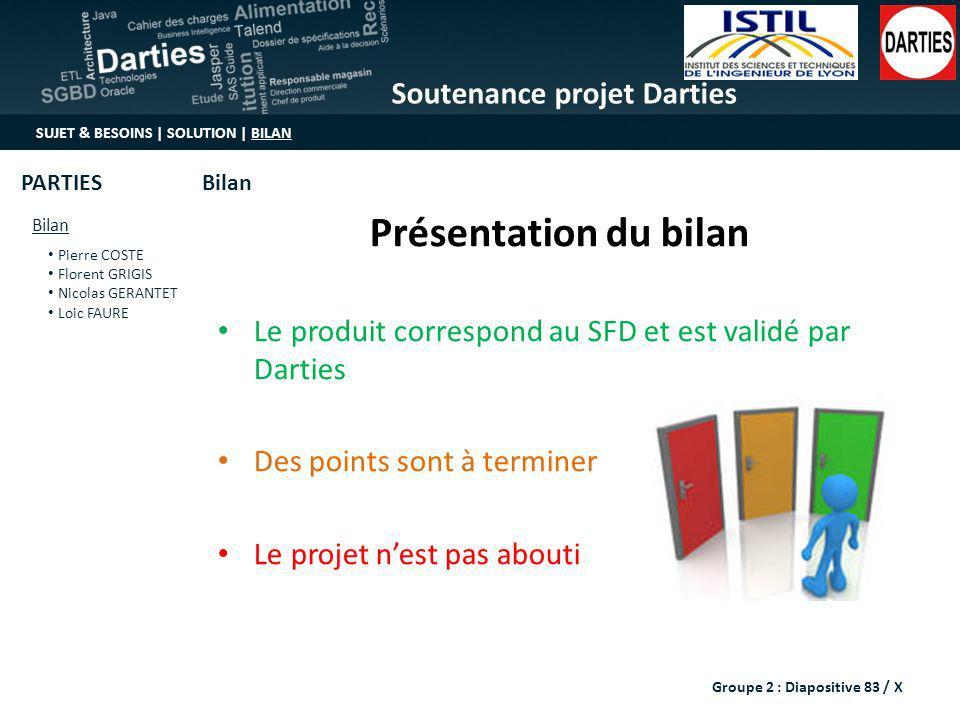 Soutenance projet Darties SUJET & BESOINS | SOLUTION | BILAN Bilan Pierre COSTE Florent GRIGIS Nicolas GERANTET Loic FAURE BilanPARTIES Présentation d