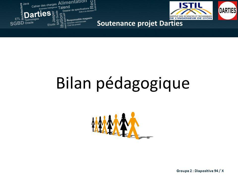 Soutenance projet Darties Bilan pédagogique Groupe 2 : Diapositive 94 / X
