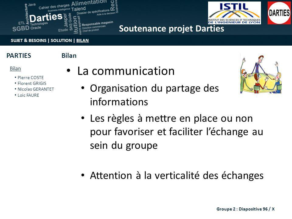 Soutenance projet Darties SUJET & BESOINS | SOLUTION | BILAN Bilan Pierre COSTE Florent GRIGIS Nicolas GERANTET Loic FAURE BilanPARTIES Groupe 2 : Dia