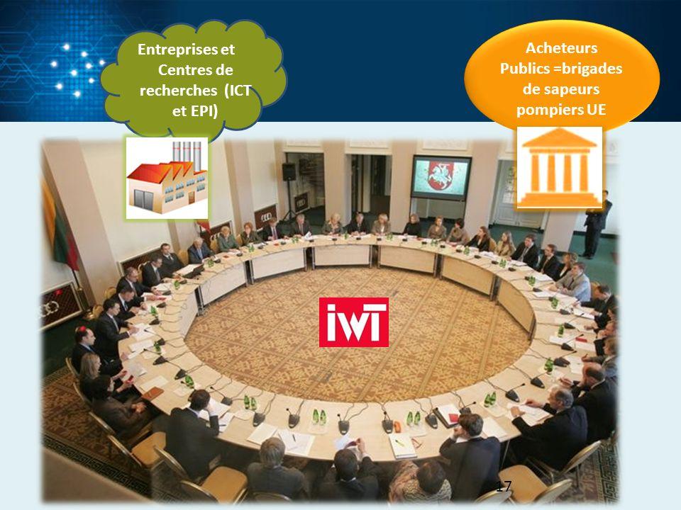Acheteurs Publics =brigades de sapeurs pompiers UE Entreprises et Centres de recherches (ICT et EPI) 17