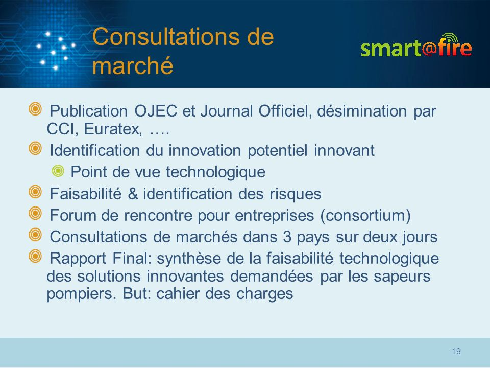 Consultations de marché Publication OJEC et Journal Officiel, désimination par CCI, Euratex, …. Identification du innovation potentiel innovant Point