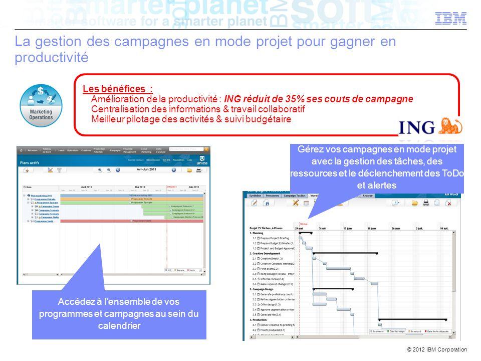 © 2012 IBM Corporation La gestion des campagnes en mode projet pour gagner en productivité Accédez à lensemble de vos programmes et campagnes au sein