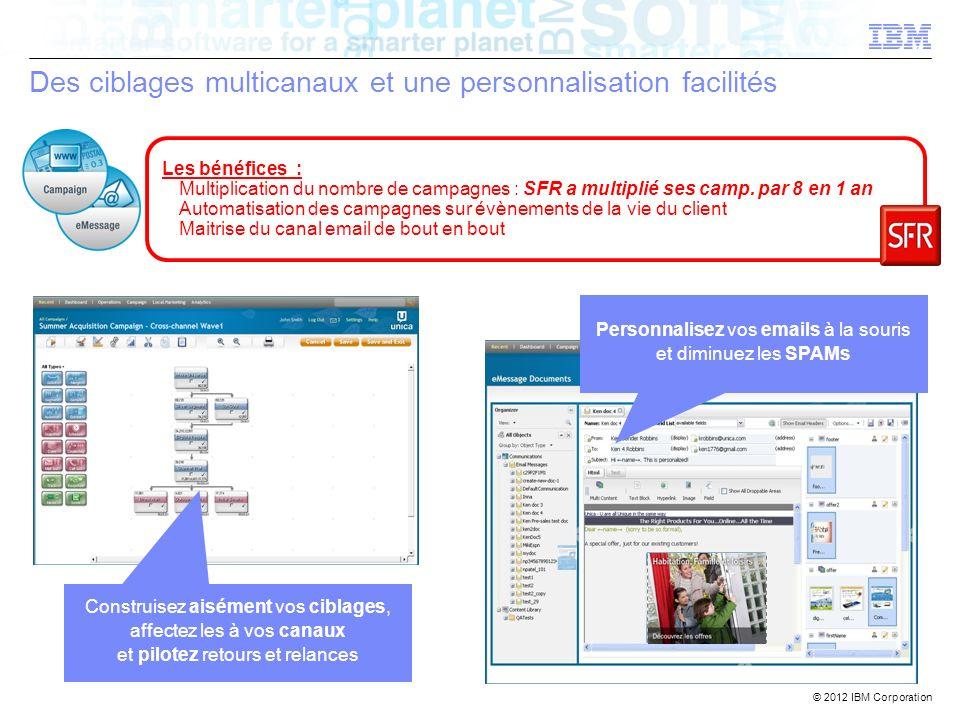 © 2012 IBM Corporation Des ciblages multicanaux et une personnalisation facilités Construisez aisément vos ciblages, affectez les à vos canaux et pilo