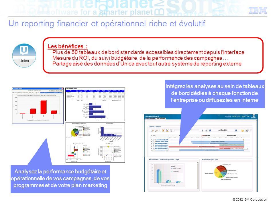 © 2012 IBM Corporation Un reporting financier et opérationnel riche et évolutif Analysez la performance budgétaire et opérationnelle de vos campagnes,