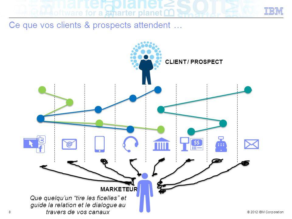 © 2012 IBM Corporation Ce que vos clients & prospects attendent … 8 Que quelquun tire les ficelles et guide la relation et le dialogue au travers de v