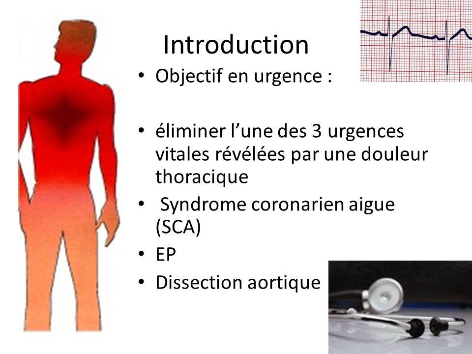 Introduction Objectif en urgence : éliminer lune des 3 urgences vitales révélées par une douleur thoracique Syndrome coronarien aigue (SCA) EP Dissect