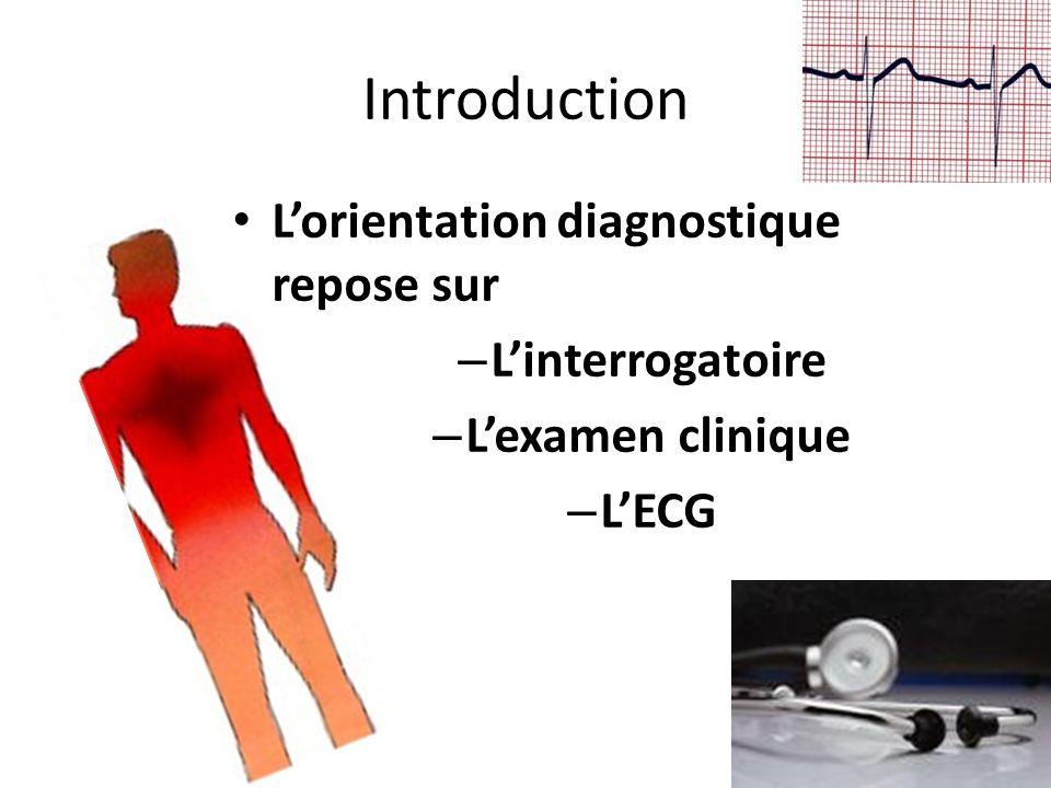 Introduction Lorientation diagnostique repose sur – Linterrogatoire – Lexamen clinique – LECG
