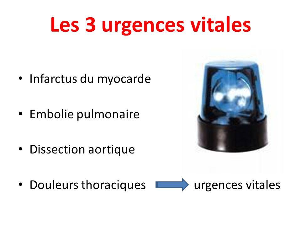 Les 3 urgences vitales Infarctus du myocarde Embolie pulmonaire Dissection aortique Douleurs thoraciques urgences vitales