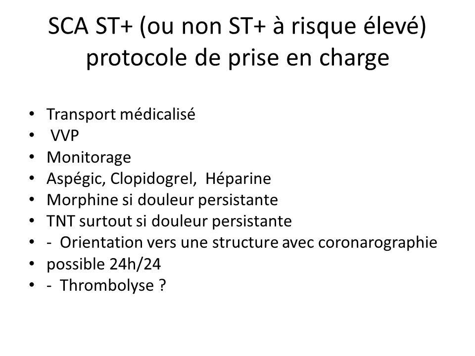 SCA ST+ (ou non ST+ à risque élevé) protocole de prise en charge Transport médicalisé VVP Monitorage Aspégic, Clopidogrel, Héparine Morphine si douleu