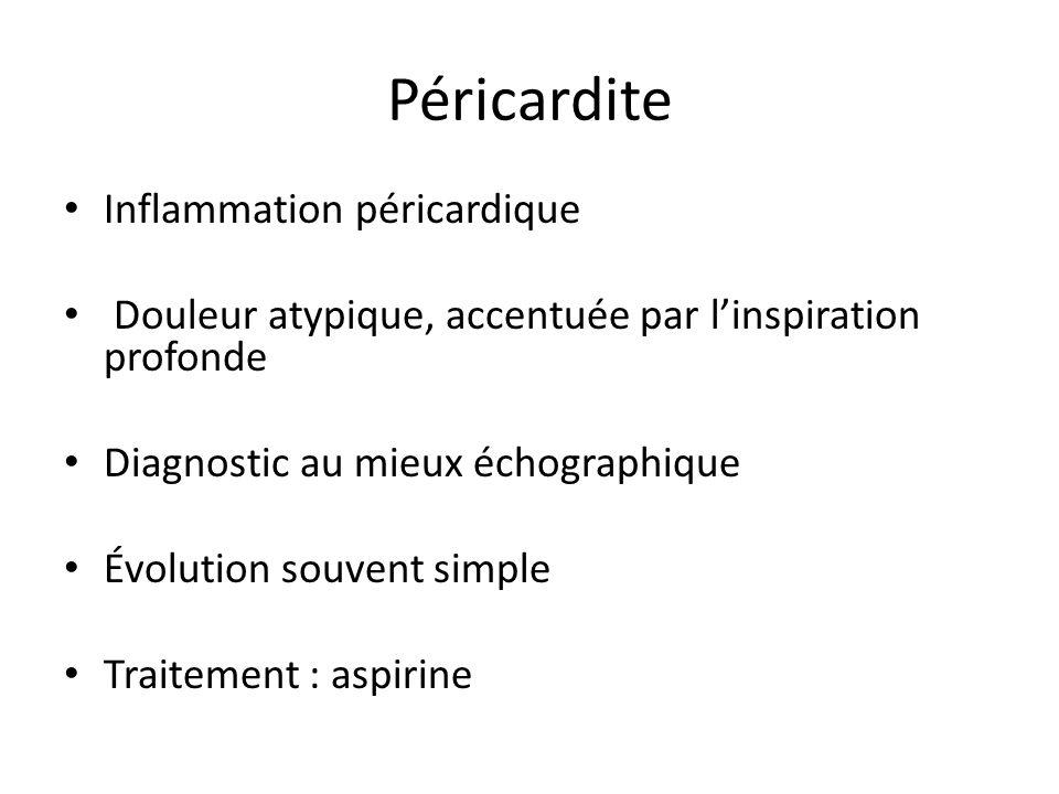 Péricardite Inflammation péricardique Douleur atypique, accentuée par linspiration profonde Diagnostic au mieux échographique Évolution souvent simple
