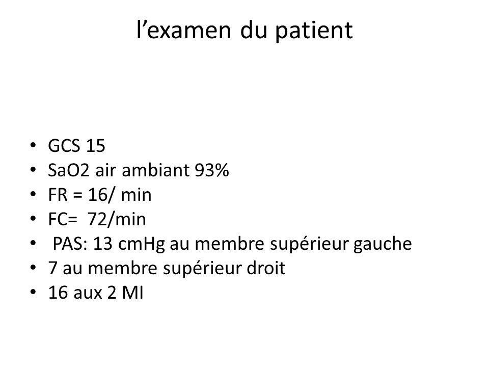 lexamen du patient GCS 15 SaO2 air ambiant 93% FR = 16/ min FC= 72/min PAS: 13 cmHg au membre supérieur gauche 7 au membre supérieur droit 16 aux 2 MI