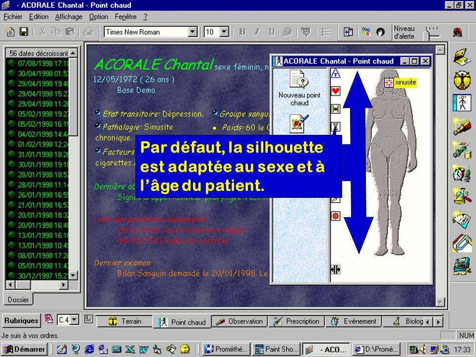 Par défaut, la silhouette est adaptée au sexe et à lâge du patient.