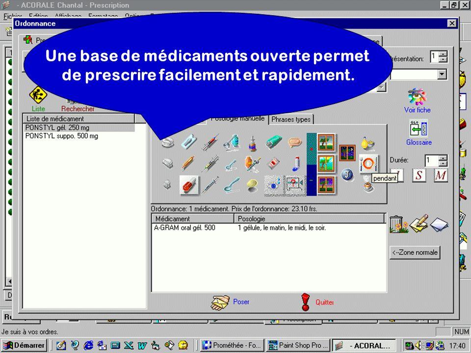 Une base de médicaments ouverte permet de prescrire facilement et rapidement.