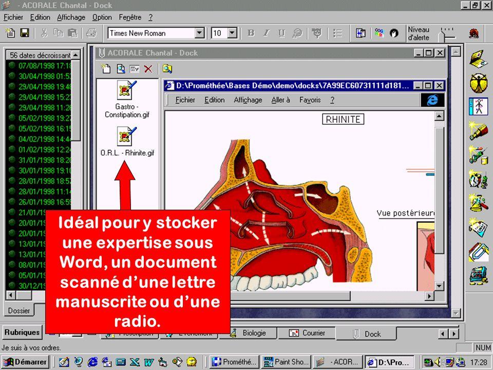 Idéal pour y stocker une expertise sous Word, un document scanné dune lettre manuscrite ou dune radio.