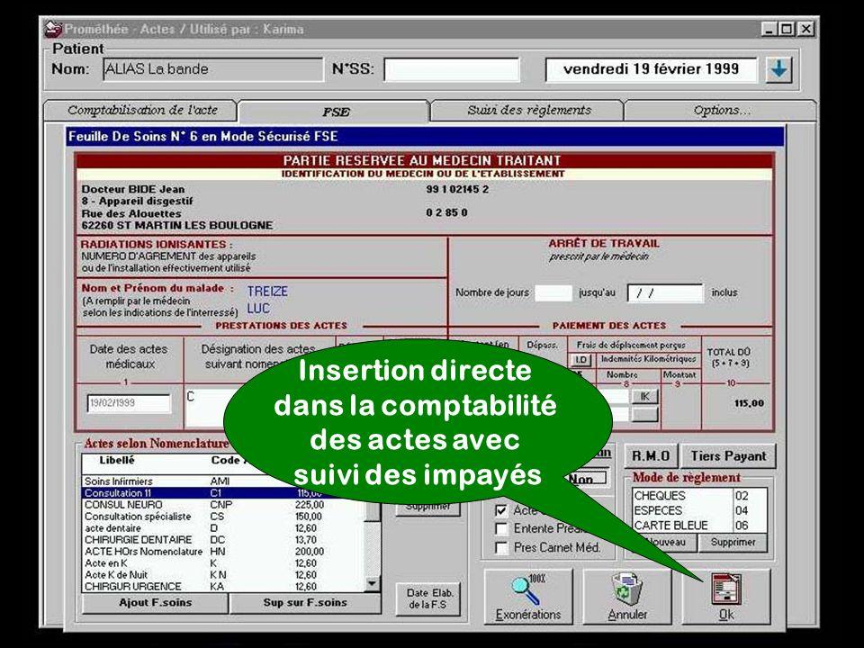 Insertion directe dans la comptabilité des actes avec suivi des impayés