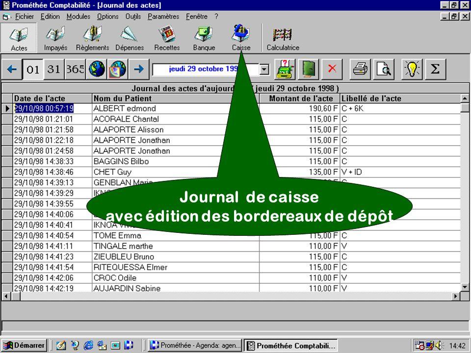 Journal de caisse avec édition des bordereaux de dépôt