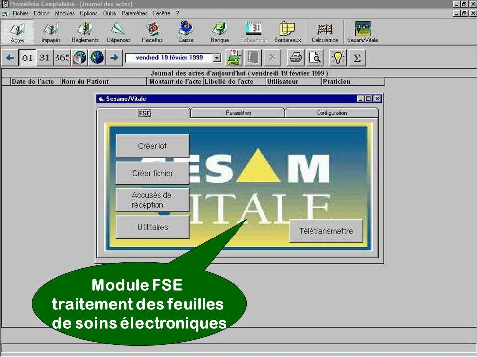 Module FSE traitement des feuilles de soins électroniques