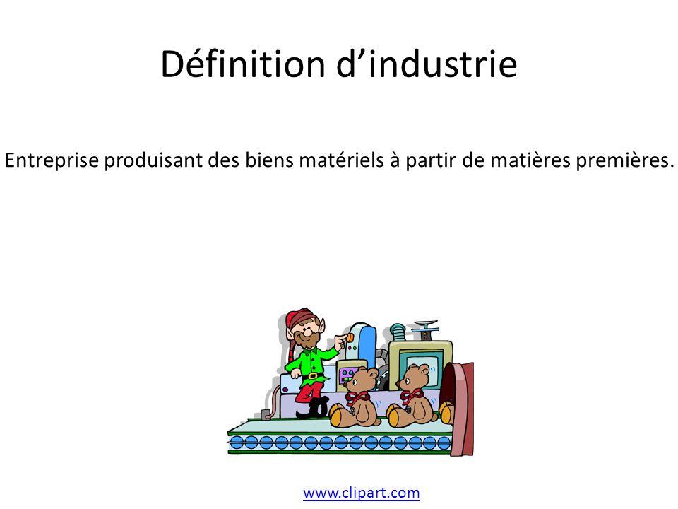 Définition dindustrie www.clipart.com Entreprise produisant des biens matériels à partir de matières premières.