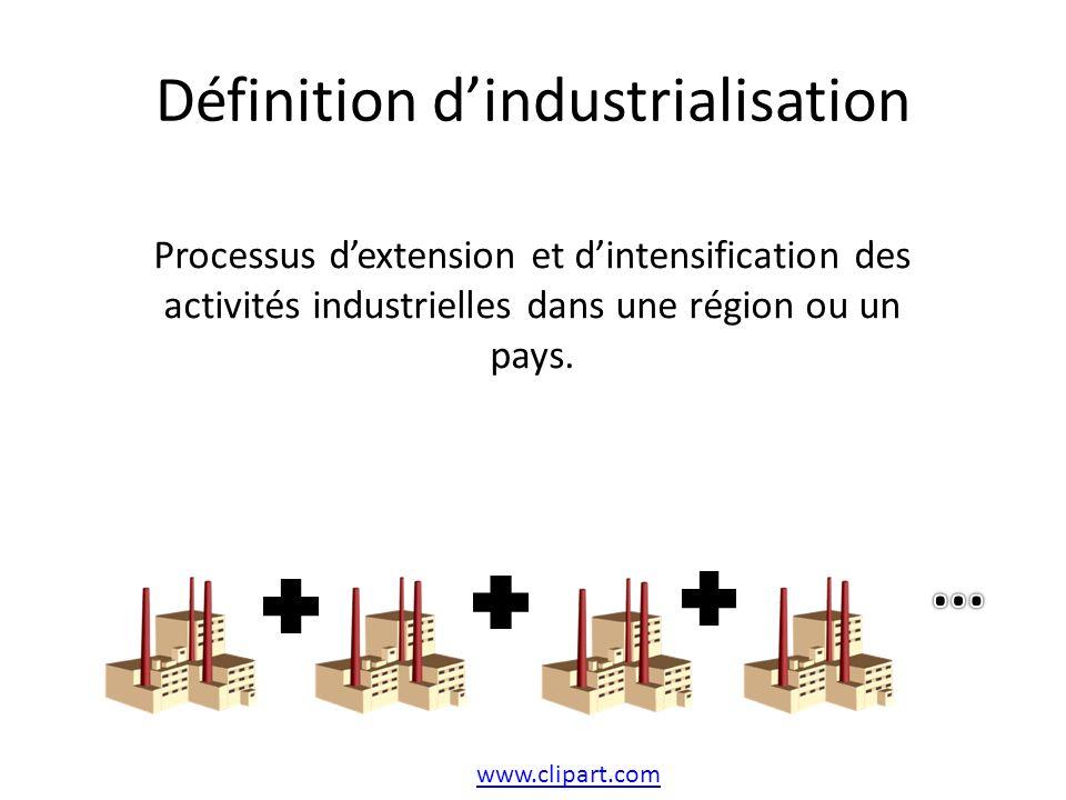 Définition dindustrialisation www.clipart.com Processus dextension et dintensification des activités industrielles dans une région ou un pays.