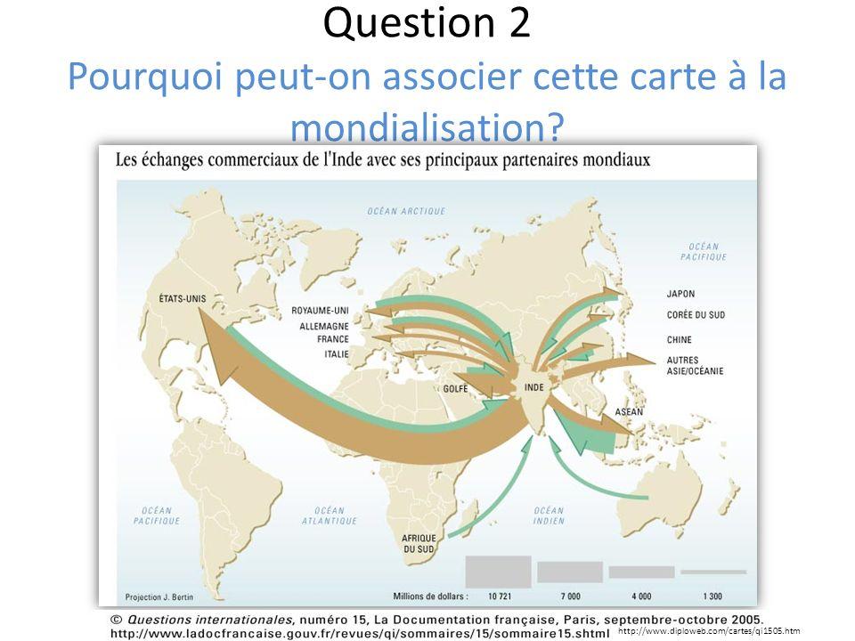 Question 2 Pourquoi peut-on associer cette carte à la mondialisation? http://www.diploweb.com/cartes/qi1505.htm