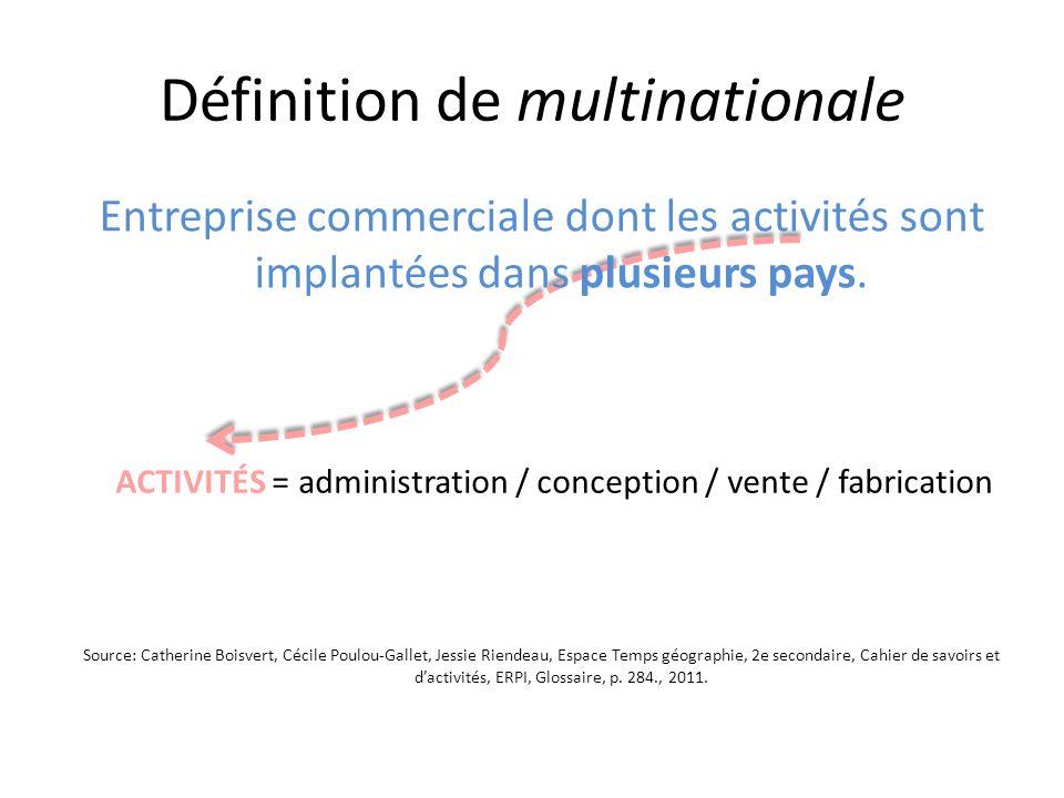 Définition de multinationale Entreprise commerciale dont les activités sont implantées dans plusieurs pays. Source: Catherine Boisvert, Cécile Poulou-