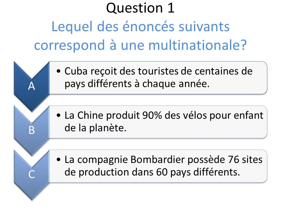 Question 1 Lequel des énoncés suivants correspond à une multinationale.