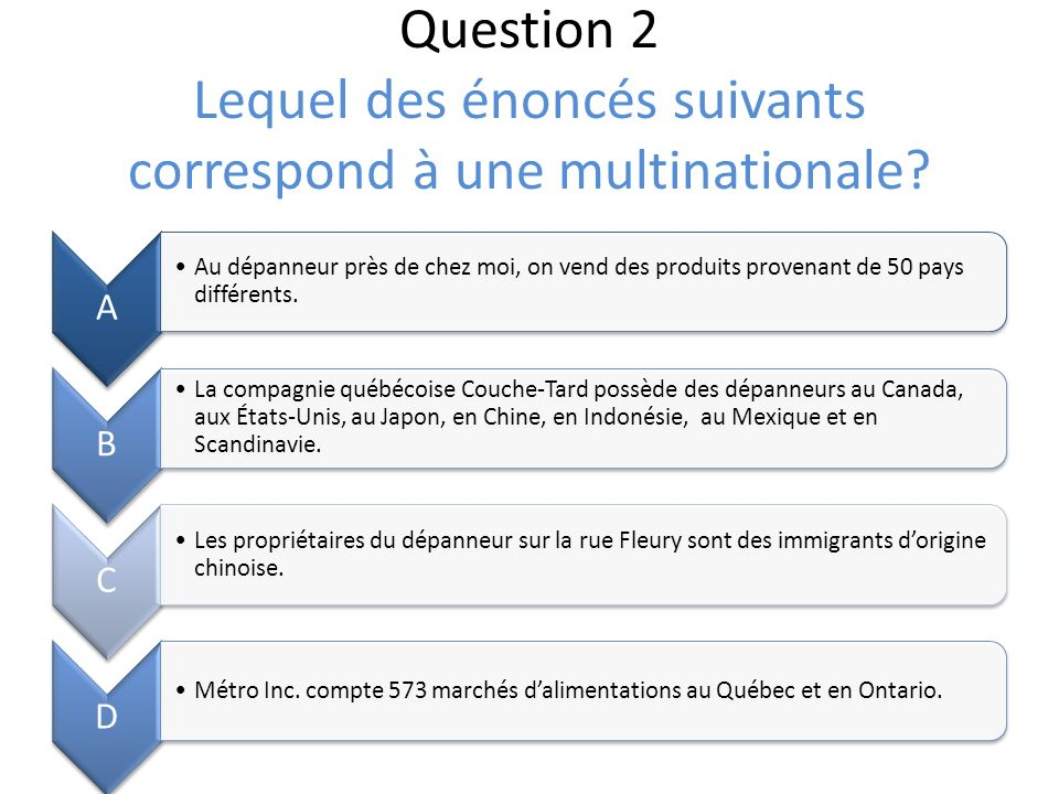 Question 2 Lequel des énoncés suivants correspond à une multinationale.