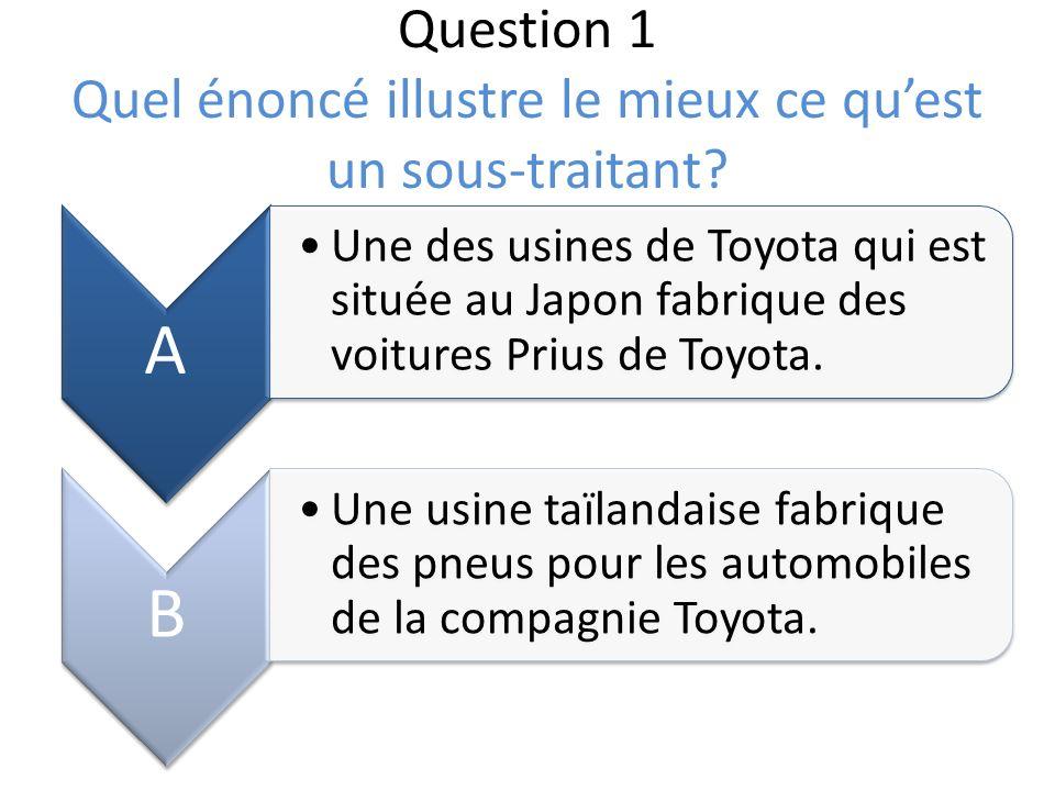 Question 1 Quel énoncé illustre le mieux ce quest un sous-traitant? A Une des usines de Toyota qui est située au Japon fabrique des voitures Prius de