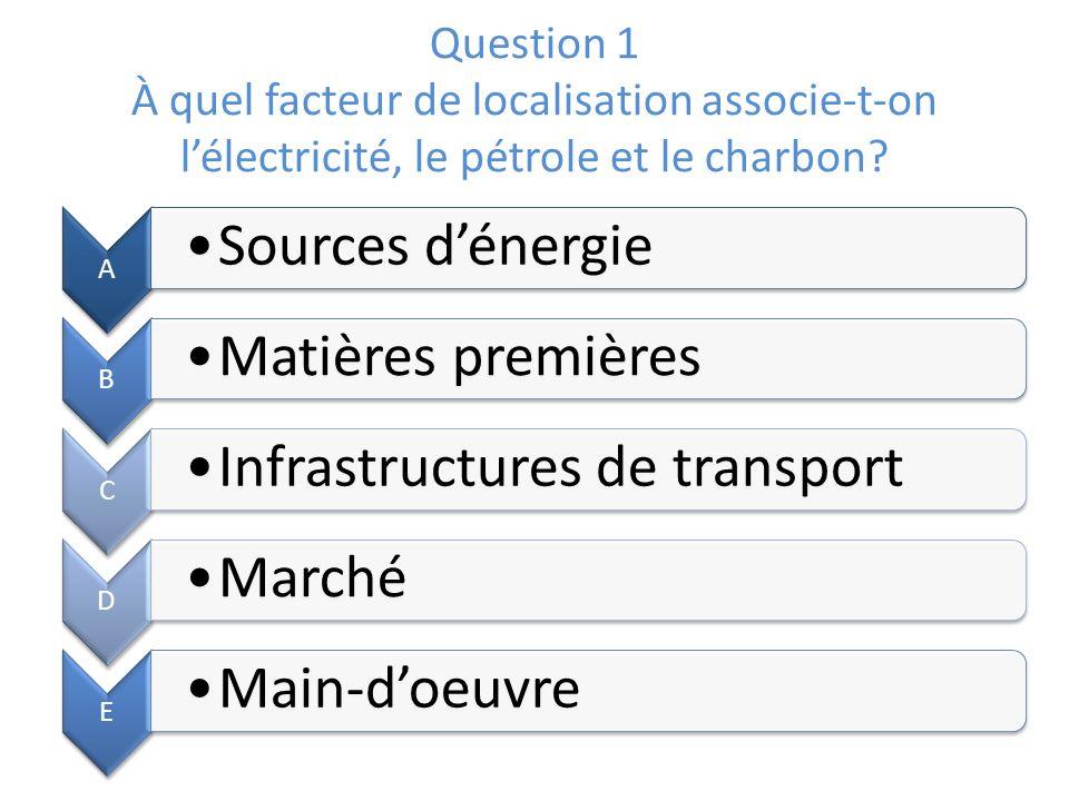 Question 1 À quel facteur de localisation associe-t-on lélectricité, le pétrole et le charbon? A Sources dénergie B Matières premières C Infrastructur
