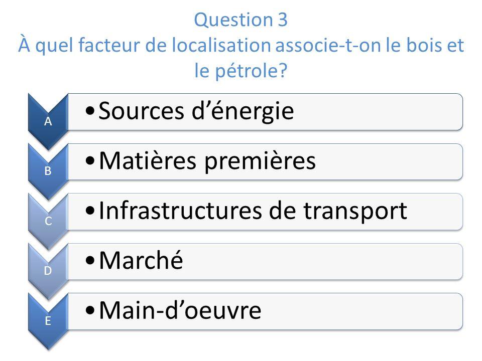 Question 3 À quel facteur de localisation associe-t-on le bois et le pétrole? A Sources dénergie B Matières premières C Infrastructures de transport D