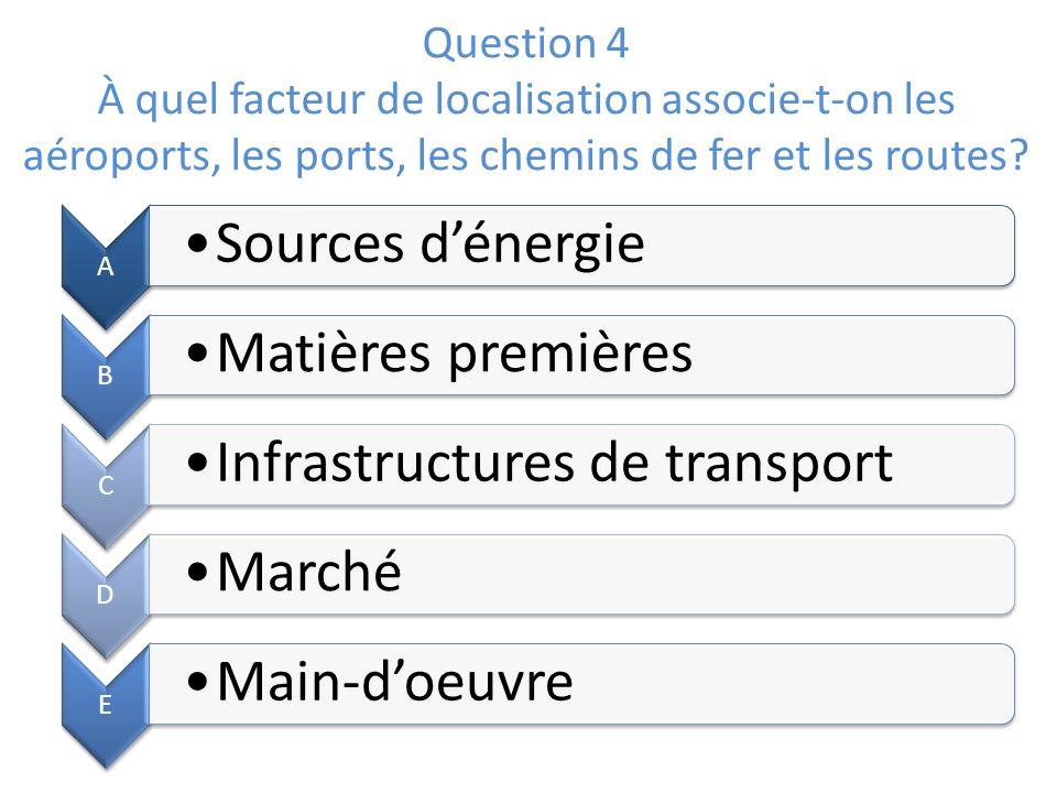Question 4 À quel facteur de localisation associe-t-on les aéroports, les ports, les chemins de fer et les routes? A Sources dénergie B Matières premi