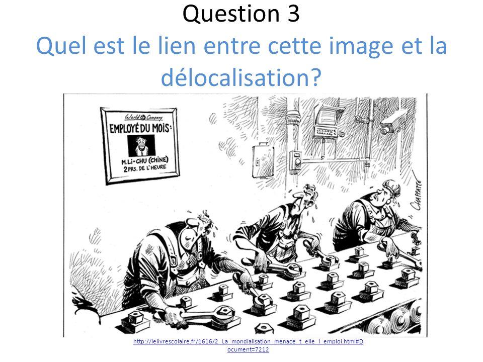 Question 3 Quel est le lien entre cette image et la délocalisation? http://lelivrescolaire.fr/1616/2_La_mondialisation_menace_t_elle_l_emploi.html#D o