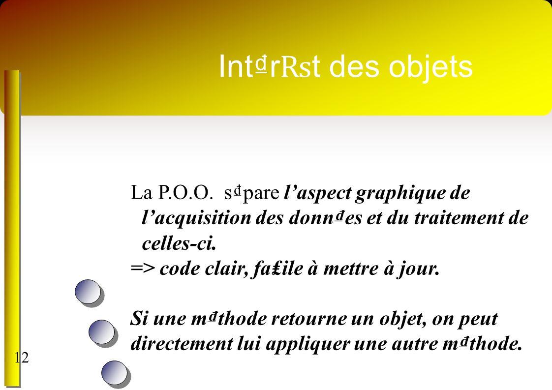 Intr t des objets La P.O.O. spare laspect graphique de lacquisition des donnes et du traitement de celles-ci. => code clair, faile à mettre à jour. Si