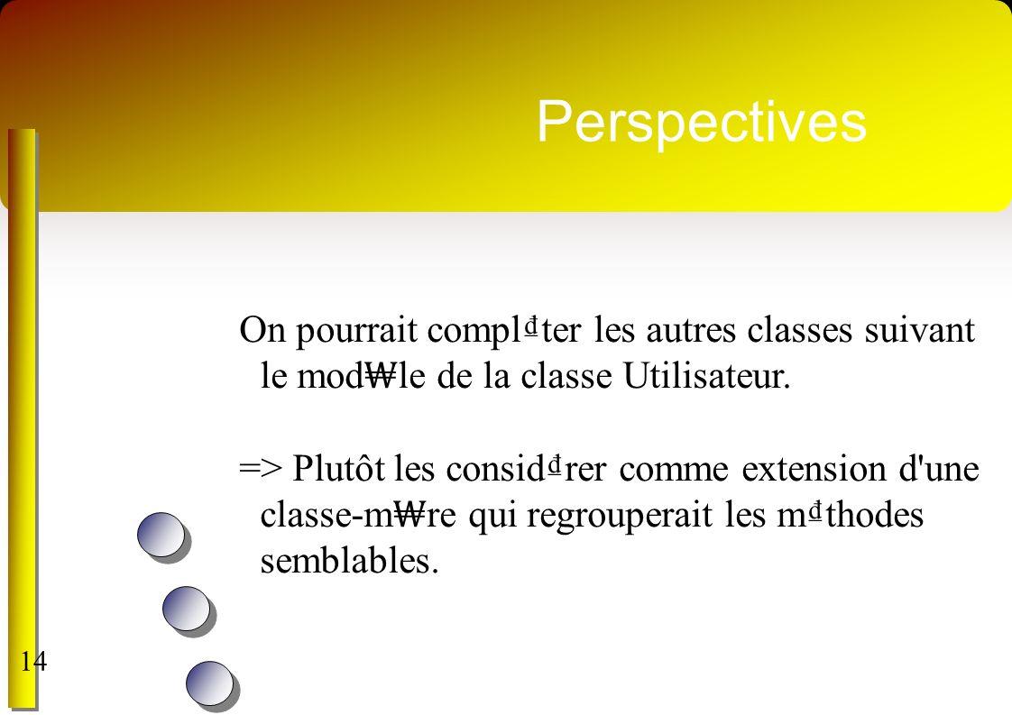 Perspectives On pourrait complter les autres classes suivant le mod le de la classe Utilisateur. => Plutôt les considrer comme extension d'une classe-