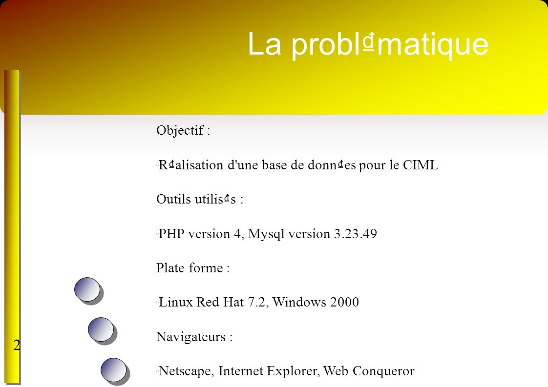 La problmatique 2 Objectif : Ralisation d une base de donnes pour le CIML Outils utiliss : PHP version 4, Mysql version 3.23.49 Plate forme : Linux Red Hat 7.2, Windows 2000 Navigateurs : Netscape, Internet Explorer, Web Conqueror