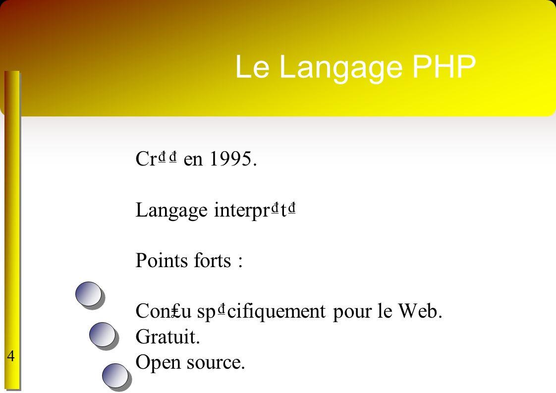 Le Langage PHP Cr en 1995. Langage interprt Points forts : Conu spcifiquement pour le Web. Gratuit. Open source. 4