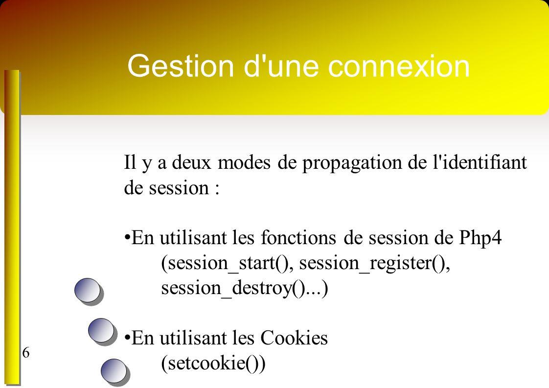 Gestion d une connexion Il y a deux modes de propagation de l identifiant de session : En utilisant les fonctions de session de Php4 (session_start(), session_register(), session_destroy()...) En utilisant les Cookies (setcookie()) 6